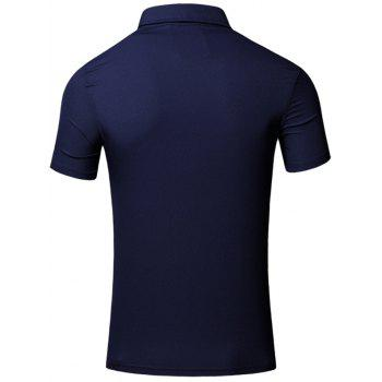 Conception brodée col rabattu manches courtes en coton + Lin Men  's Polo T-Shirt - Bleu Cadette 2XL