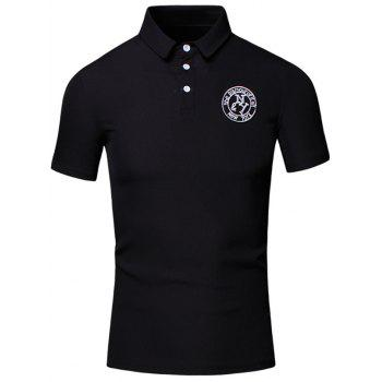 Embroidered Design Turn-Down Collar Short Sleeve Cotton+Linen Men's Polo T-Shirt - BLACK BLACK