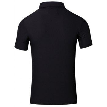 Conception brodée col rabattu manches courtes en coton + Lin Men  's Polo T-Shirt - Noir 2XL