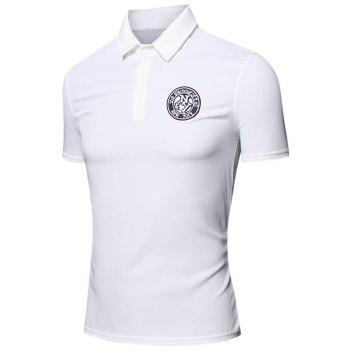 Embroidered Design Turn-Down Collar Short Sleeve Cotton+Linen Men's Polo T-Shirt - WHITE M