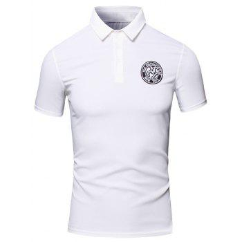 Embroidered Design Turn-Down Collar Short Sleeve Cotton+Linen Men's Polo T-Shirt
