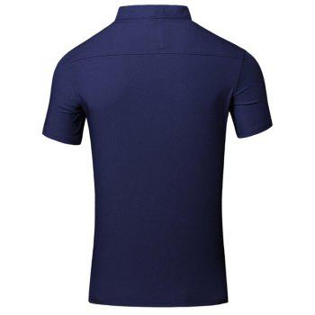 Solid Color Applique Design Stand Collar Short Sleeve Cotton+Linen Men's Polo T-Shirt - CADETBLUE CADETBLUE