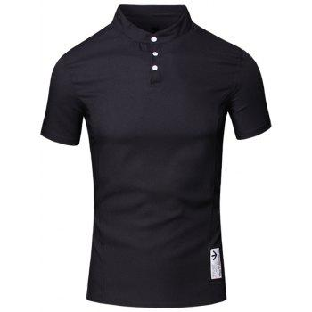 Solid Color Applique Design Stand Collar Short Sleeve Cotton+Linen Men's Polo T-Shirt - BLACK BLACK
