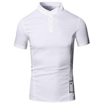 Solid Color Applique Design Stand Collar Short Sleeve Cotton+Linen Men's Polo T-Shirt - WHITE M