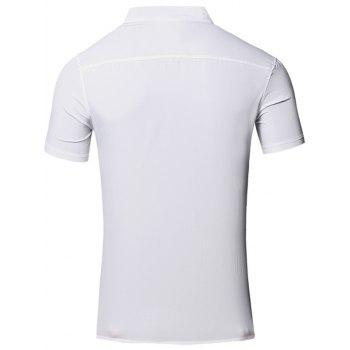 Solid Color Applique Design Stand Collar Short Sleeve Cotton+Linen Men's Polo T-Shirt - M M