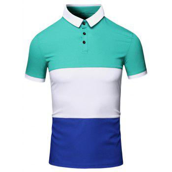 Color Block Splicing Design Turn-Down Collar Short Sleeve Cotton+Linen Men's Polo T-Shirt