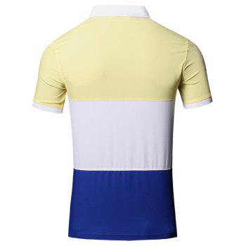 Color Block Splicing Design Turn-Down Collar Short Sleeve Cotton+Linen Men's Polo T-Shirt - YELLOW YELLOW