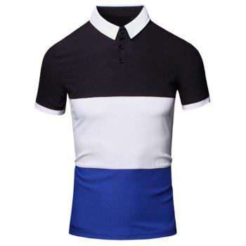 Color Block Splicing Design Turn-Down Collar Short Sleeve Cotton+Linen Men's Polo T-Shirt - CADETBLUE CADETBLUE