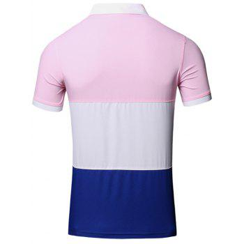 Color Block Splicing Design Turn-Down Collar Short Sleeve Cotton+Linen Men's Polo T-Shirt - PINK L