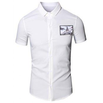 3D Iron Tower Printed Turn-Down Collar Short Sleeve Cotton+Linen Men's Shirt