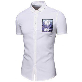 3D Letters Printed Turn-Down Collar Short Sleeve Cotton+Linen Men's Shirt - WHITE L