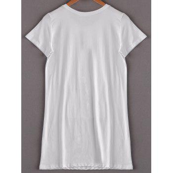Stylish Women's Short Sleeve Jewel Neck Sequined T-Shirt - WHITE ONE SIZE(FIT SIZE XS TO M)