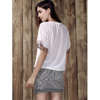 Chic Round Neck Fringed T-Shirt + Zig Zag High-Waisted Skirt Women's Twinset - WHITE/BLACK ONE SIZE(FIT SIZE XS TO M)