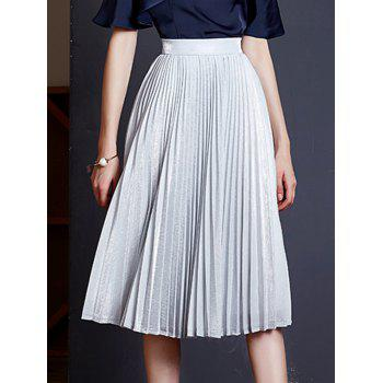 Elegant Pleated Solid Color Women's Expansion Skirt
