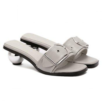 Stylish Buckle and Strange Heel Design Women's Slippers - GRAY GRAY