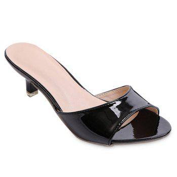 Fashionable Solid Colour and Patent Leather Design Women's Slippers - BLACK 36