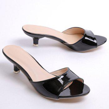 Fashionable Solid Colour and Patent Leather Design Women's Slippers - 36 36