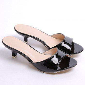 Fashionable Solid Colour and Patent Leather Design Women's Slippers - 35 35