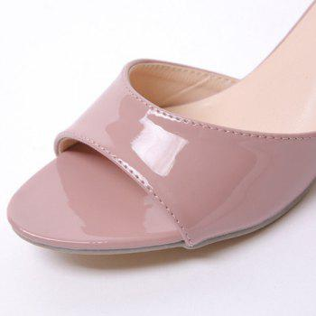 Fashionable Solid Colour and Patent Leather Design Women's Slippers - PALE PINKISH GREY PALE PINKISH GREY