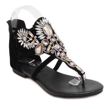 Fashionable Black Colour and Rhinestones Design Women's Sandals