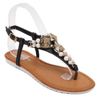 Trendy Rhinestones and Faux Pearls Design Women's Sandals