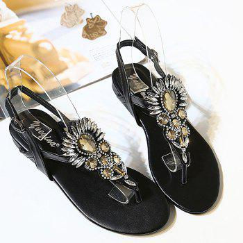 Stylish Black Colour and Rhinestones Design Women's Sandals - BLACK 37
