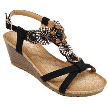 Casual T-Strap and Beading Design Women's Sandals