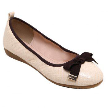 Leisure Bowknot and Embossing Design Women's Flat Shoes - APRICOT APRICOT