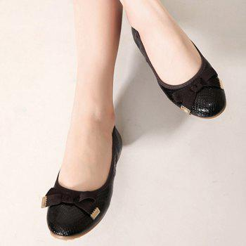 Leisure Bowknot and Embossing Design Women's Flat Shoes - BLACK BLACK