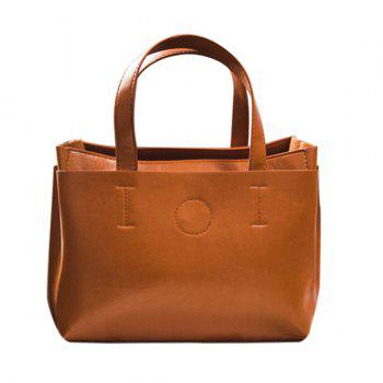 Buy Concise PU Leather Solid Colour Design Women's Tote Bag BROWN