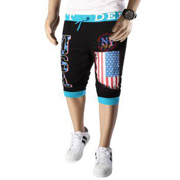 Letters  American Flag Print Color Block Beam Feet Lace-Up Men's Capri Pants