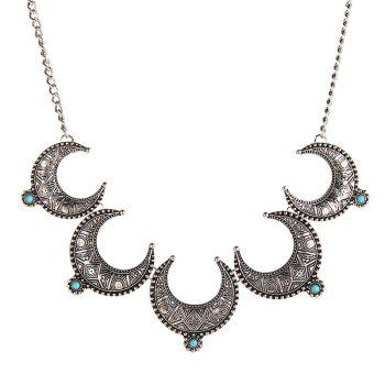 Faux Turquoise Moon Necklace