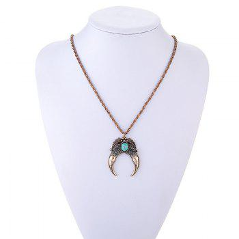 Faux Turquoise Oval Leaf Necklace - GOLDEN