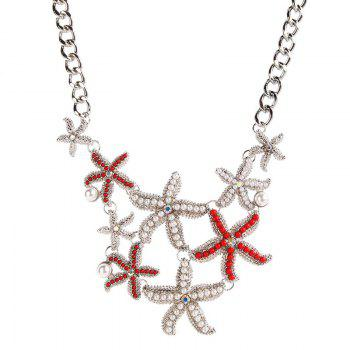 Vintage Faux Pearl Alloy Starfish Necklace
