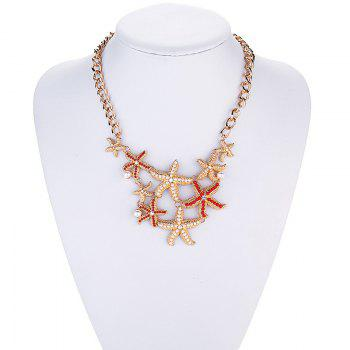 Vintage Faux Pearl Alloy Starfish Necklace - GOLDEN
