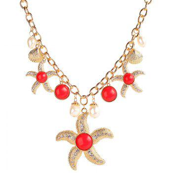 Vintage Faux Pearl Rhinestone Starfish Necklace For Women