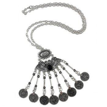 Embossed Coins Tassel Sweater Chain - SILVER SILVER