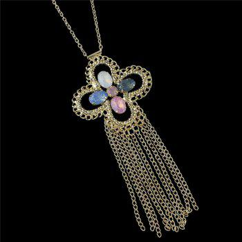 Embellished Cross Sweater Chain - GOLDEN