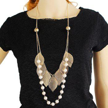Faux Pearl Leaf Sweater Chain - GOLDEN GOLDEN