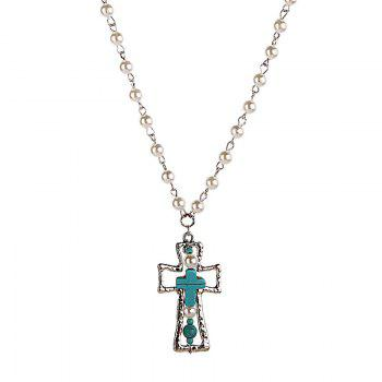 Gorgeous Faux Turquoise Cross Sweater Chain For Women