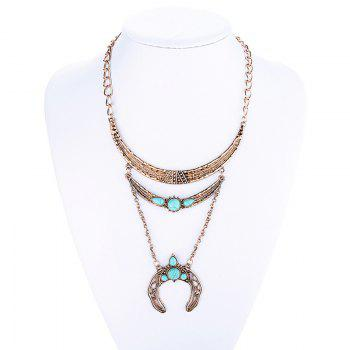 Buy Fake Turquoise Moon Sweater Chain GOLDEN