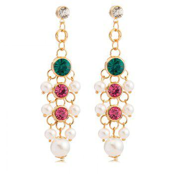 Pair of Faux Pearl Rhinestone Embellished Drop Earrings