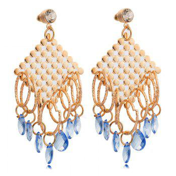 Pair of Rhinestone Embellished Water Drop Earrings