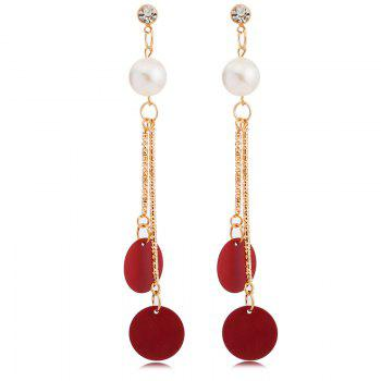 Pair of Round Faux Pearl Embellished Earrings