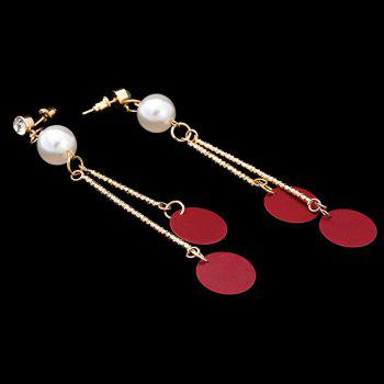 Pair of Round Faux Pearl Embellished Earrings - GOLDEN