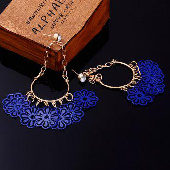 Pair of Flower Rhinestone Teardrop Earrings - BLUE