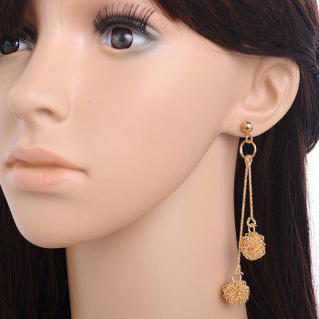 Pair of Blossom Alloy Earrings - GOLDEN