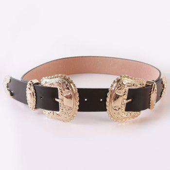 Chic Baroque Style Double Pin Buckles Casual PU Women's Wide Belt