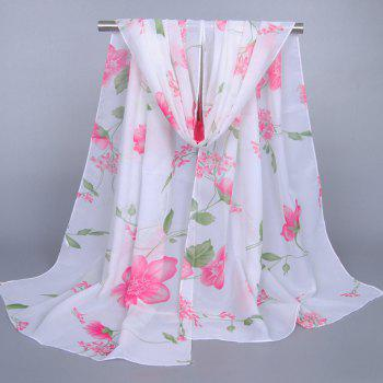 Chic Fresh Style Flower and Leaf Pattern Women's Chiffon Scarf