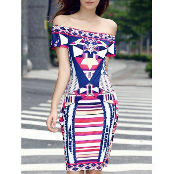 Trendy Off The Shoulder Print Colorful Bodycon Dress For Women